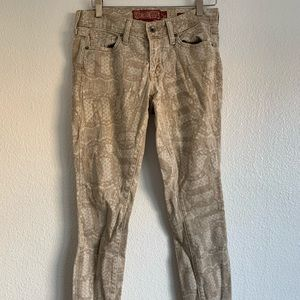 LUCKY BRAND Tan Printed Skinny Jeans, S2/26